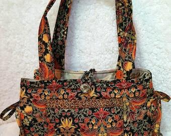 Jewel Tone Quilted Handbag, Quilted Fabric Shoulder Bag Purse, Elegant Autumn Color Tote