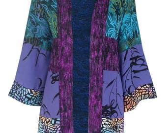Boho Kimono Robe,  Plus Size Cardigan,  Boho Cardigan Kimono, Purple Kimono Cardigan  | Women's Plus Size Japanese Jacket, One Size 1x 2x