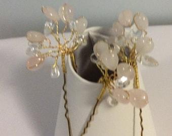 Bridal hair pins made with rose quartz