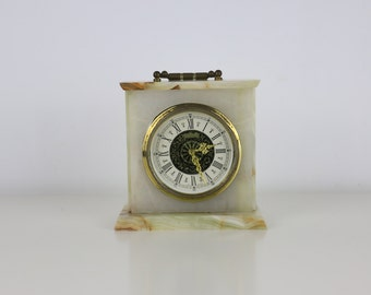 Vintage Marble Clock West Germany with gold detailing