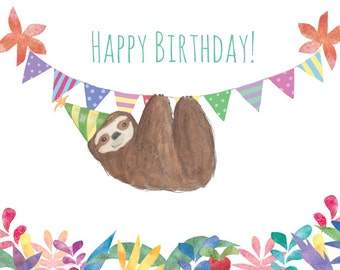 Sloth birthday card (blank inside)