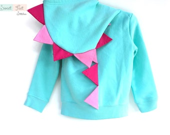 4T Aqua Dinosaur Hoodie with Pink Spikes