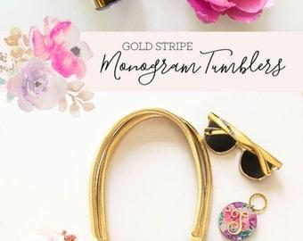 Gold Tumbler Gold Monogram Tumbler Bridesmaid Gift Ideas Gift Women Initial Tumbler Bachelorette ...