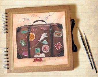 Travel Photo album - Kraft square scrapbook with illustration, customizable