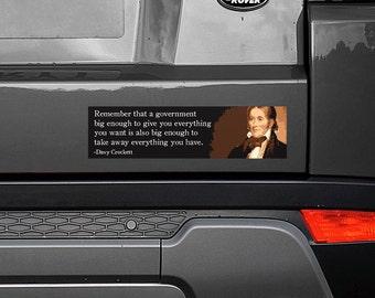 "Davy Crockett - Big Government 11.5""x3"" Bumper Sticker Decal"