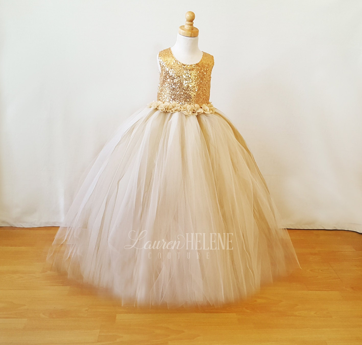 Flora Champagne Gold Princess Flower Girl Dress Luxury