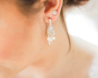 Bridal earrings, baroque wedding jewelry