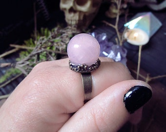 Crystal Ball Ring, Rose Quartz Crystal Ring, Vintage Ring, Gothic Jewelry, Adjustable