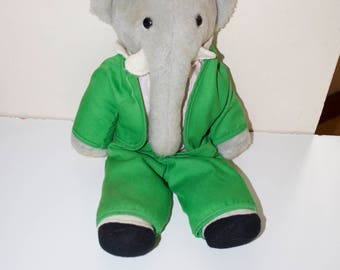 Vintage King Babar Stuffed Plush Animal 15""
