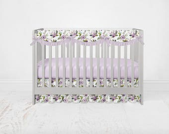 Lavender Lilac Purple Floral Bedding Set. Floral Baby Bedding. Purple Crib Set. Purple Floral Nursery. Floral Baby Bedding.