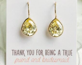Personalized Bridesmaids Gift Gold Bridesmaids Yellow Earrings Bridesmaid Earrings Dangle Earrings Cubic Zirconia Earrings Teardrops  E295