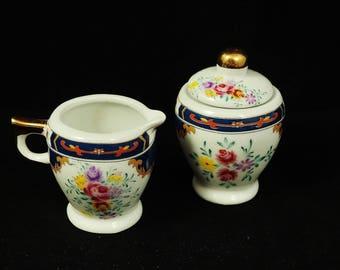 Vintage Miniature Porcelain Sugar Bowl and Creamer Set