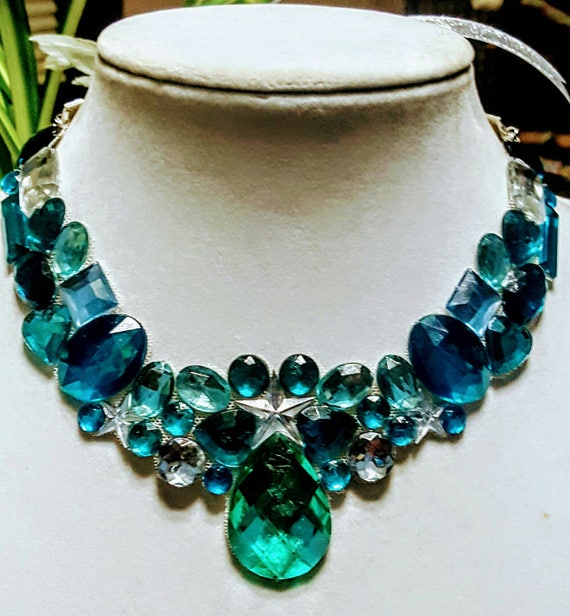 Aqua Gem - rhinestone bling necklace, illusion necklace, rhinestone bib, floating necklace