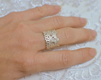 Silver lace ring, Bohemian lace jewelry, cast lace, sterling silver ring, anniversary gift, romantic jewelry