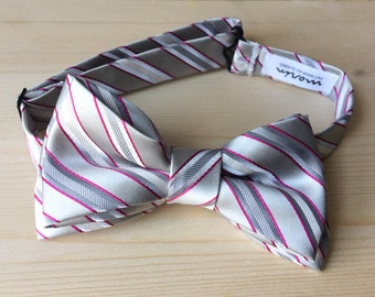 Bowtie - light gray with pink lines - pre-tied - groom - unique bow tie - smart casual