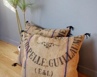 Vintage floor pillow from jute bag