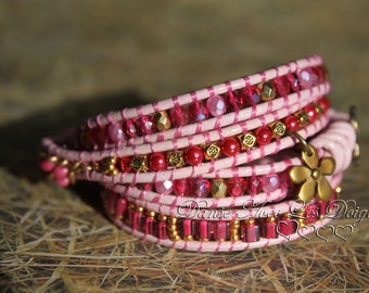 The power of roses, bracelet leather 4 towers