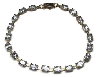 Vintage 10K Yellow Gold Natural Aquamarine Bracelet 7.25 Inches