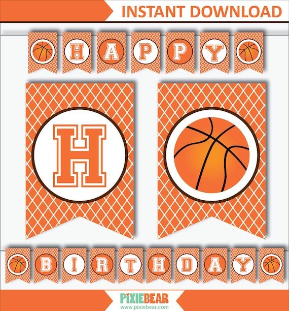 Basketball banner basketball birthday banner basketball for Basketball craft party ideas