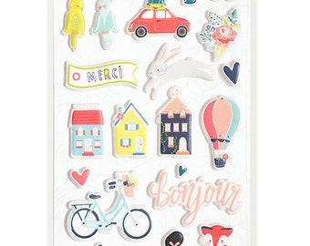 NEW & ON SALE! Puffy Stickers from Dear Lizzy's Lovely Day Collection - 37 Assorted Stickers
