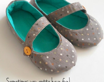 Kids Flats - Mary Jane Shoes with Leather or Rubber Sole