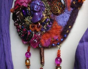 Designer bib necklace felted.