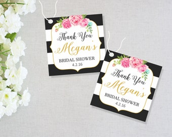 "Kate Spade Bridal Shower Favor Tags, Bridal Shower Gift Tags, Thank you Tags, Black and White Stripes Tags, Party Favor Tags, 2.25"" x 2.25"""