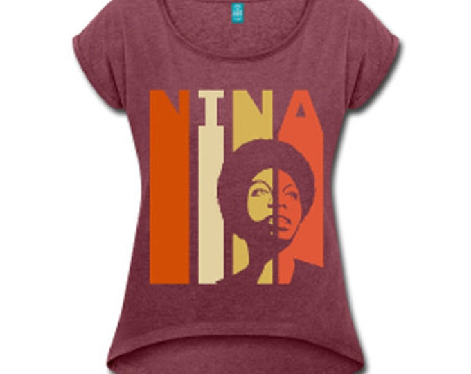 Nina Simone Women's Rolled Sleeve High Low T-shirt - Maroon