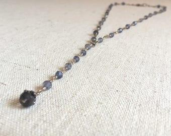 Iolite gemstone silver lariat necklace