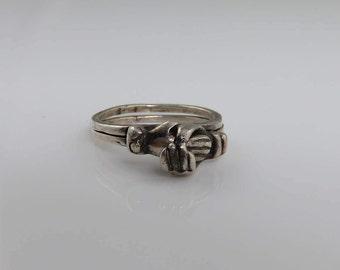 Vintage Sterling Fede Gimmel Hands Together Ring. Estate dated 1925
