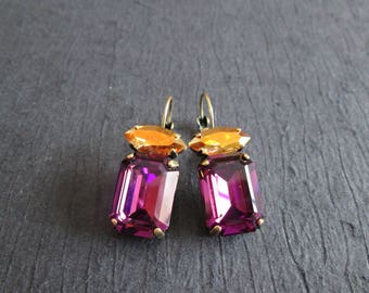 Large Swarovski Amethyst and Gold Earrings/Amethyst Bridesmaid Jewelry/Brass Ox Rectangle Swarovski Earrings/Crystal Statement Earrings
