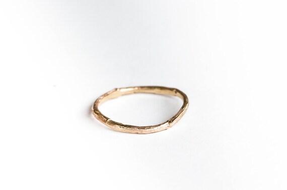14k gold thin twig wedding band, matching twig wedding band, gold twig ring