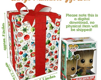 Vintage Christmas Large Gift Box - Instant Download Printable - Funko Pop Figure Size - Antique Retro Xmas Santa Bow Christmas Party Favor