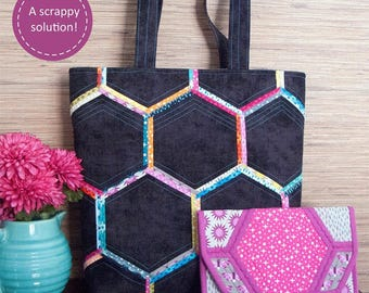 Honeycomb Handbags Pattern by Poorhouse Quilt Designs; Sewing Pattern; PQD-216; Tote Bag Pattern, Clutch Pattern