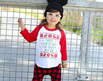 Merry Christmas Ya Filthy Animal - Unisex 3/4 Sleeve Shirt - Hipster - Raglan Tee - Christmas - Boys - Girls - Holiday Shirt - Vinyl Shirt