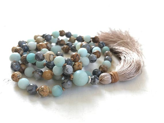 Jasper Mala Beads For Confidence, Amazonite Mala Necklace, Hand Knotted Mala Beads, 108 Bead Meditation Mala, Mixed Gemstones, Silk Tassel