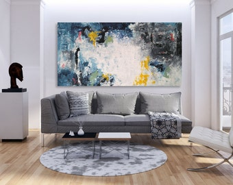 Custom Sizes - LARGE Ready To Hang Abstract Painting - FREE SHIPPING - Large Wall Art Original Painting on Canvas - Texture Palette Knife