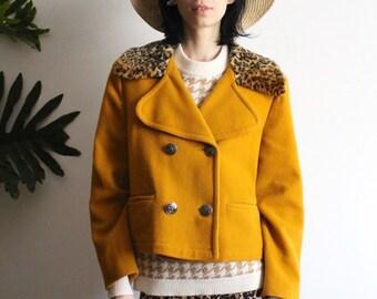 Mustard leopard cropped jacket
