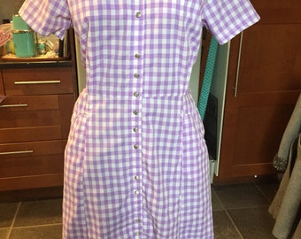 Vintage Western dress purple gingham cowgirl Nashville Boogie pinup
