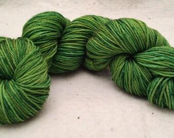 Hand Dyed Yarn / DK Weight / Green and Yellow / Merino & Silk