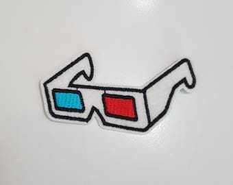 3D Movie Glasses Retro iron on patch applique