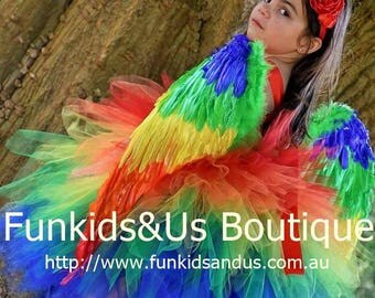 Parrot  Tutu Dress Costume - macaw costume, parrot tutu with wings and Headband  , bird costume, bird tutu