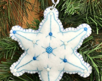 Snowflake Wool Felt Embroidered Ornament Hanger