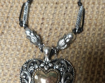 Brighton jewelry etsy brighton style brass and silver heart pendant on leather cord mozeypictures Images