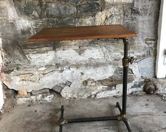Antique Mechanical Table  Industrial Table Drafting Table Side Table Cast Iron Wood Claw Feet Steampunk Architect 19th Century Victorian