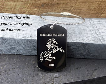 Custom Horse Keychain, Engraved Keychain, Personalized Horse Gifts, Stainless Steel, Custom Laser Equestrian Gifts