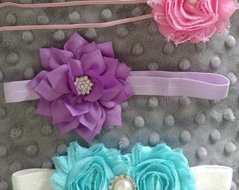 SALE!!! Set of Three  Elastic Headbands Aqua Purple Pink Rhinestone Size 3-12 Months