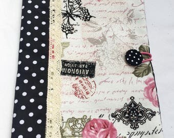 French script book cover Fabric book cover Fabric diary cover A5 Diary notebook cover A5 notebook cover Paperback cover Black and white dots