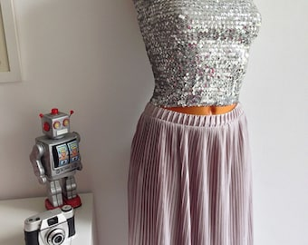 Silver Sequin top 80s, Strapless Sequin top, Silver tube Top, Top studio 54 disco. Size M