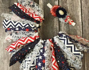 Fourth of July Baby Girl Outfit , Fourth of July Tutu , Fabric Tutu Headband , 4th of July Outfit , Baby Tutu , Tutu , Fourth of July Outfit